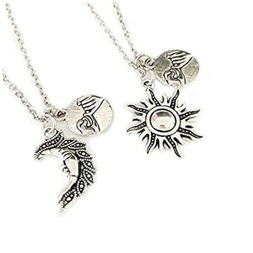 Collar de sol, collar de luna, collar de promesa de color rosa, collar de amistad, regalo de cumpleaños