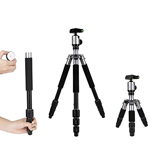 Fotopro Stativ Professional Kamerastativ Aluminium Mini Stativ mit Kugelkopf für Canon Nikon Sony Kamera und Smartphone