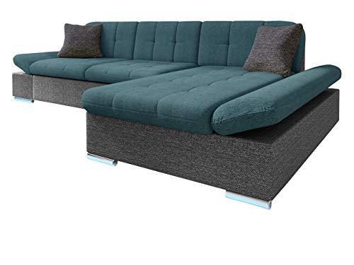 Ecksofa Malwi LED, Regulierbare Armlehnen und LED Beleuchtung im Set, Eckcouch mit Schlaffunktion und Bettkasten, L-Form Couch, Sofa, Wohnlandschaft (Boss 12 + Enzo 155 + Boss 12, Seite: Rechts)