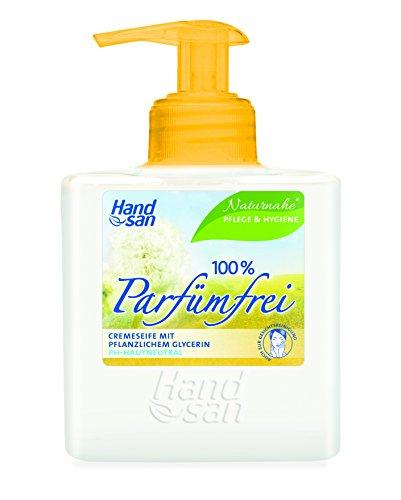 Handsan Cremeseife 100% PARFÜMFREI im Spender 300 ml / Cremseife seifen- und parfümfrei Spender im 3er Vorratspack (3 x 300 ml)