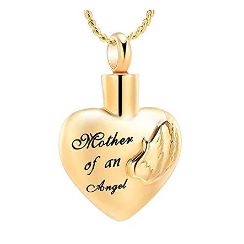 Wxcvz Collar con Colgante para Cenizas Collar De Urna Conmemorativa De Recuerdo De Mi Madre, Siempre En Mi Corazón, Collar con Colgante De Urna De Cremación para Las Cenizas De Mi Madre