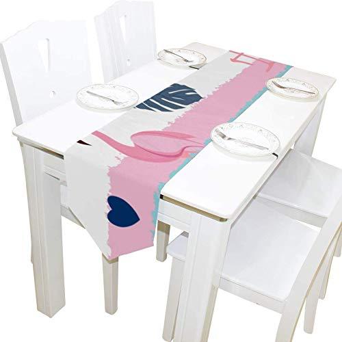 Flamingo Birds Summer Pink Tocador Bufanda Cubierta de Mesa Camino Mantel Mantel Individual Cocina Comedor Sala de Estar Hogar Boda Banquete Decoración Interior , 13 * 70in,13 * 70in