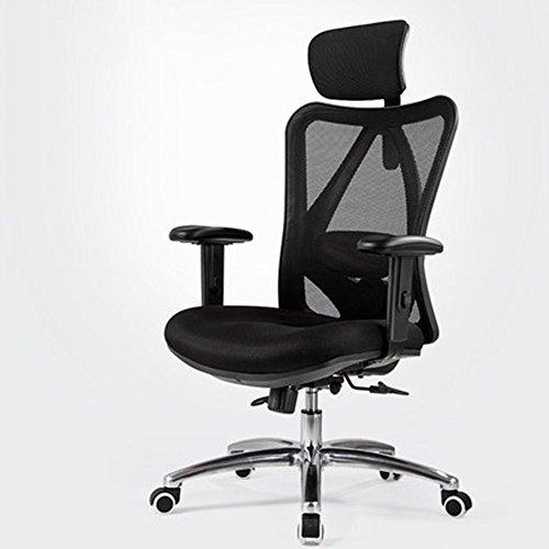 JIEER-C Bureaustoel, bureaustoel, ergonomische stoel van metaallegering, leuning, zwart zwart.