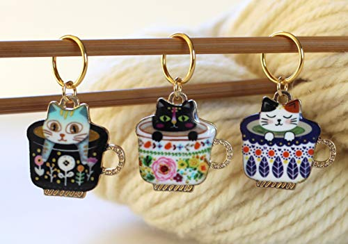 Cat Stitch Markers for Knitting (Set of 3)