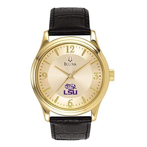 Bulova Men's LSU Tigers Louisiana State Gold Watch Black Leather