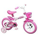 Bicicleta Arco Iris Infantil Aro 12 Branco e Rosa com Cestinha, Track Bikes