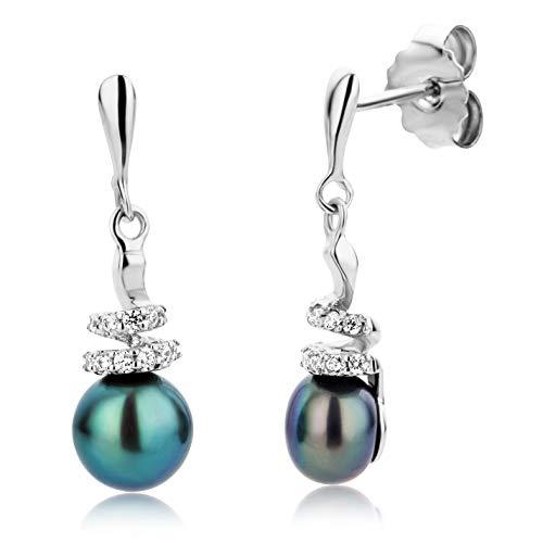 Miore Perlenohrringe Set Damen Ohrringe Perlen Ohrstecker 925 Sterling Silber süßwasserperlenmit Zirkonia Rhodium plated