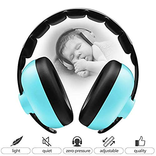 Noise Cancelling Headphones Baby Earmuffs Adjustable Infant Hearing Protection for 3M to 2+ Years Toddler for Sleeping Airplane Concerts Theater Fireworks - Mint Green