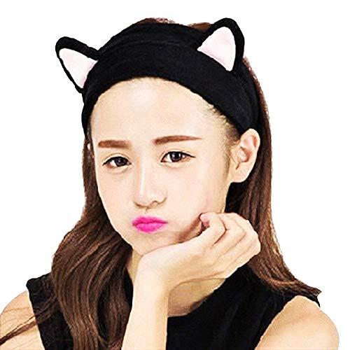 Vrouwelijke haarband - vrouw - herfst - winter - kat - geschikt voor make-up - warm - zwart - gezichtswas - origineel cadeau-idee