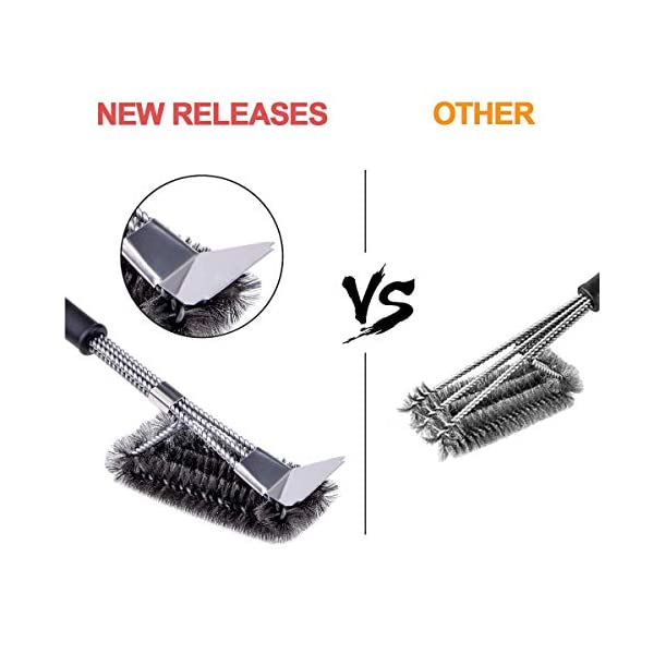 Qomolo Grill Brush 3 in 1 BBQ Grill Brush with Strong Stainless Steel Scraper Grill Cleaning Brush for Charcoal Electric… 6