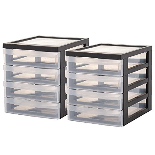 Iris Ohyama, Lot de 2 mini tours de rangement / organiseurs de bureau à 4 tiroirs - Design Chest - DC-A5, plastique, noir/transparent, 4 x 1,5 L, 25,8 x 19,1 x 22 cm