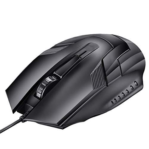 Angle-w Design Elegante Mouse cablato USB 1200DPI Desktop Gaming Optic Mouse Office Office Mouse per Computer Portatile PC Tastiera da Gioco (Color : Black)