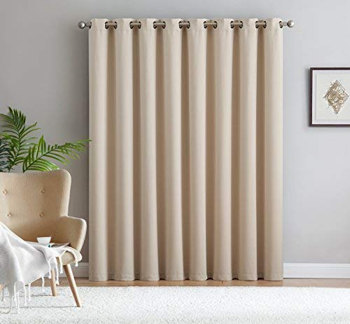 Nicole - 1 Patio Extra Wide Premium Thermal Insulated Blackout Curtain Panel - 16 Grommets - 102 Inch Wide - 84 Inch Long - Ideal for Sliding and Patio Doors (1 Panel 102 x 84, Ivory)