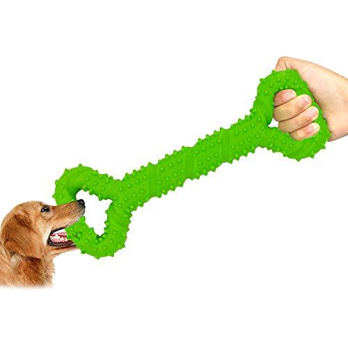 SlowTon Hueso de Juguete para Perros, Juguete de Tira y Afloja con Forma de Hueso de 13'', Juguetes de Dentición para Cachorros No-tóxicos para Perros Pequeños Medianos Grandes, Herramienta de Entrenamiento Interactivo, Juguete de Tirón Fuerte, Juguete de Goma para Mascotas, Ideal Regalo de Navidad (Verde)