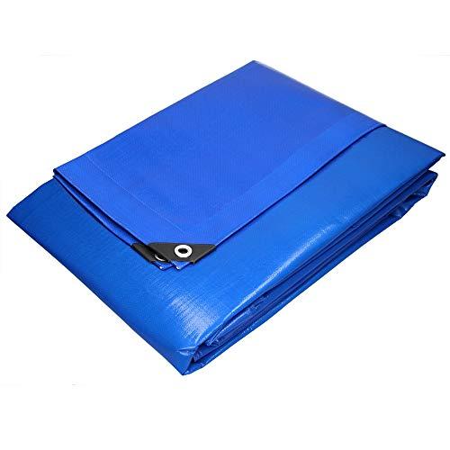 ECD Germany Telone in Tessuto con Occhielli 6x8m 48m² 180g / m² Blu in Polietilene Telone Impermeabile per Esterno Antistrappo Telo di Protezione Antipioggia Copertura Giardino Telone Protettivo