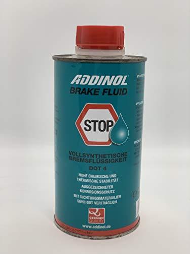 ADDINOL BRAKE FLUID DOT4 (auch DOT3), Bremsflüssigkeit, vollsynthetisch, 0,5 L Dose.