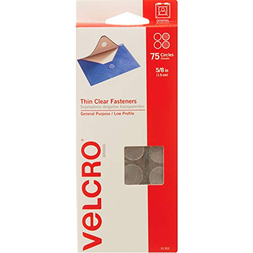 "VELCRO Brand Thin Clear Dots with Adhesive | 75Pk | 5/8"" Circles 
