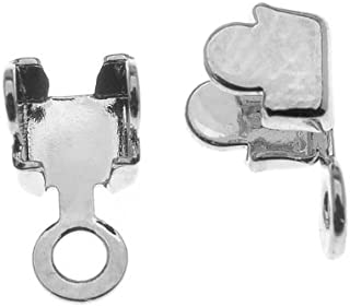 Beadaholique Rhodium Plated Foldover 24PP Cup Chain Crimp On Ends for Cup Chain (20 Pieces)