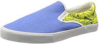 Bucketfeet Women's Sixth Street Canvas Slip-On 9 Blue Yellow
