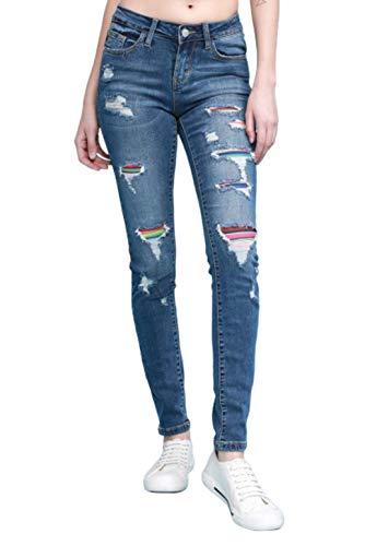 Judy Blue Serape Patch Skinny Jeans (15) (Style: 8424) Blue