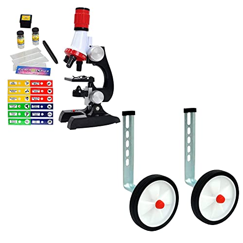 Science Kits for Kids Beginner Microscope with Sample Prepared Slides 12pc, Training Wheels 1 Pair Heavy Duty Rear Wheel for Kids Bikes of 12 14 16 18 20 Inch