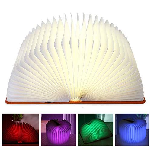 Aibesser Opvouwbare boekenlamp, led, boekenlamp, sfeerverlichting, bedlamp, nachtlampje, wandlamp, bureaulamp, PU-leer, papier+USB-kabel, 360 graden opvouwbaar, decoratieve boekenlampen