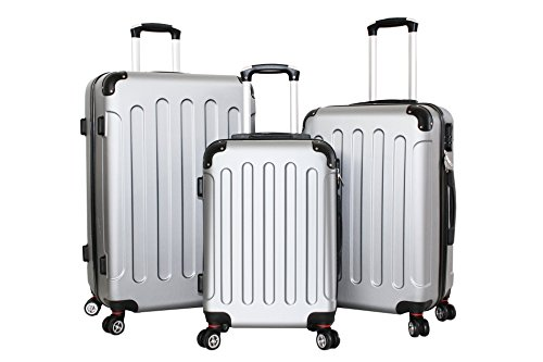 Set di tre Trolley Almatà 4 ruote gemellari con chiusura a combinazione e bagaglio a mano misure IATA (accettata da tutte le compagnie) Silver Grey