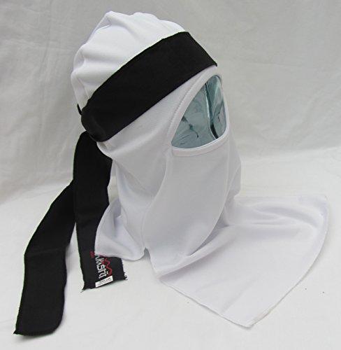 SHIHAN Shinobi Ninja Ultimate Warrior maschera viso set giapponese (AKA) bianco maschera con fascia nera Tenugui sciarpa 1 taglia