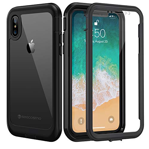 seacosmo Cover iPhone X, Cover iPhone XS, 360 Gradi Rugged Custodia iPhone X Antiurto Trasparente Case con Protezione Integrata dello Schermo, Nero