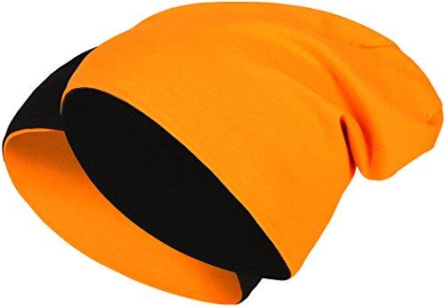 2 in 1 Wendemütze - Reversible Slouch Long Beanie Jersey Baumwolle elastisch Unisex Herren Damen Mütze Heather in 24 (8) (Black/Orange)