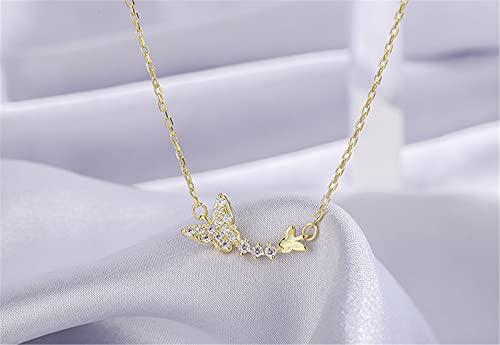 YNING S999 Collar de Mariposa de Diamantes Vintage de Plata Esterlina/Longitud de Cadena Ajustable/Regalos Adecuados para Niñas, Novias y Esposas