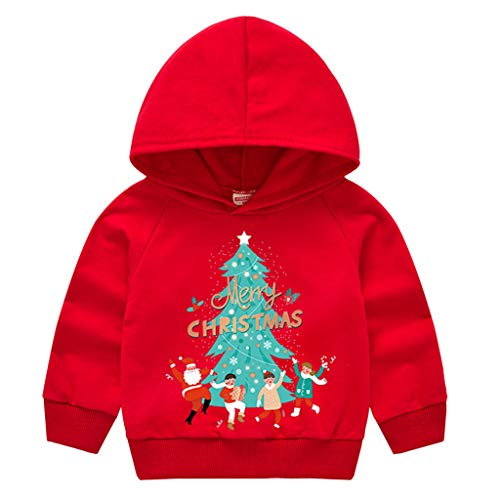 Zegeey Kinder Baby MäDchen Jungen Sweatshirt Langarm Pullover Kapuzenpullover Winter Shirt Tier Cartoon Druck Weihnachten Bekleidung Party Festliche KostüM Geschenk(B1-rot,90-100)