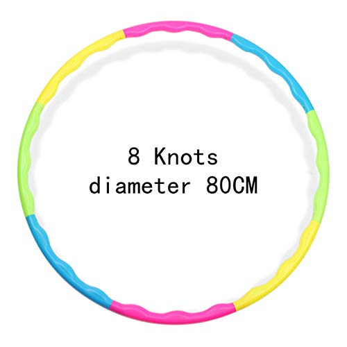 WYSTLDR Hula Hoop, 6-8 Removable Sections, Suitable For Adults & Children, Hula Hoop For Fitness, Foam Padded, 8 Detachable Wavy Sections, Fitness Hoop for Training, Free Skipping Rope
