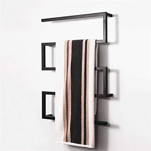 Sèche-serviettes, chauffe-serviettes, porte-serviettes chauffant électrique 304 en acier inoxydable avec barres carrées Sèche-serviettes pour salle de bain Cuisine Accessoires de salle de bain d'hôte