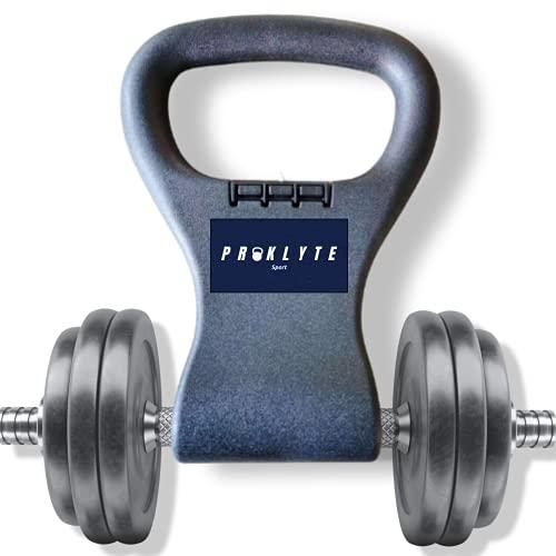 KETTLEBELL GRIP| Convierte las mancuernas en kettlebells | Lleva este robusto mango de agarre para mancuernas PROKLYTE en tu bolsa de gimnasio cuando salgas de viaje