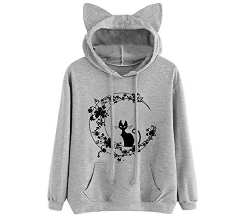Covermason Mode Femme Manches Longues Sweatshirt à Capuche Court imprimé Lettres Chemisier Sweat à Capuche Femme Hoodies Pull Tops Blouse Shirt Streetwear (M, Blanc)