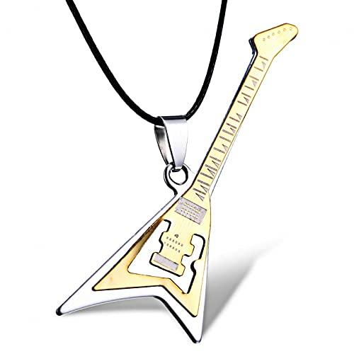 YIKOUQI Collares de Acero Inoxidable Hombres y Mujeres, Collar con Colgante de Guitarra con Forma de Pluma y Cruz, joyería