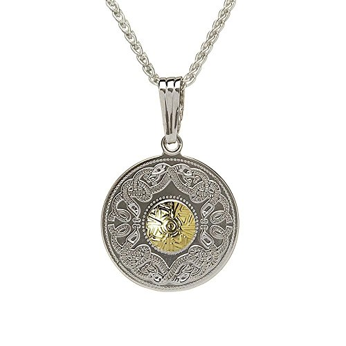 Biddy Murphy Celtic Shield Necklace Sterling Silver and 18K Gold Plated Bead Made in Ireland