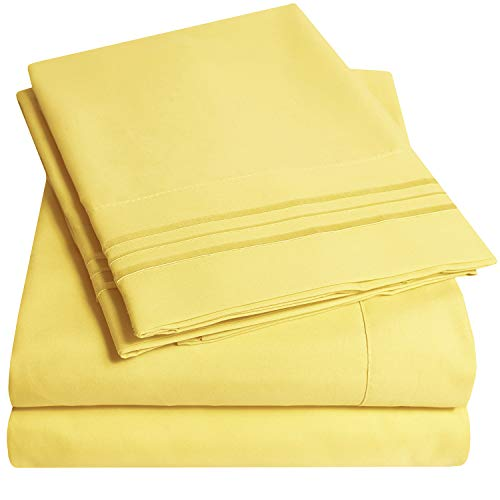 1500 Supreme Collection Extra Soft RV Queen Sheets Set, Yellow - Luxury Bed Sheets Set with Deep Pocket Wrinkle Free Hypoallergenic Bedding, Over 40 Colors, RV Queen Size, Yellow