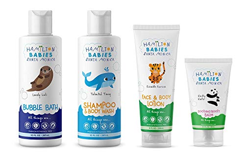 Hamilton Babies Bundle of Fun Bath Essentials; Contains Baby Shampoo/Body Wash, Bubble Bath for toddlers, Face & Body Lotion, and Soothing Booty Balm