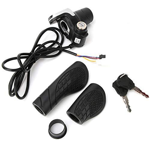 Acelerador giratorio para bicicleta eléctrica, resistente al desgaste, fácil de instalar y quitar con una pantalla LCD, para motocicleta eléctrica, etc, apto para manillares de 22-22,8 mm