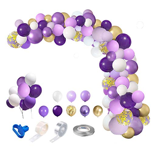 CY Mylar 119 Pcs Purple Balloons Garland Arch Kit,12'' 10'' 5'' Pastel Purple Lavender Gold White Balloons Confetti Latex Metallic Purple Balloons Arch for Birthday Mermaid Photo Backdrop Baby Shower Wedding Purple Theme Bachelorette Party Decorations Supplies with 4 Tools