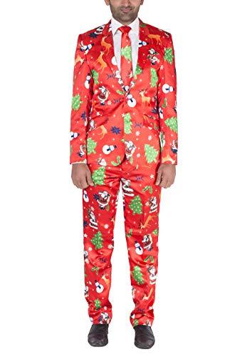 NOROZE Mens Slim Fit Fancy Dress Novelty Christmas Suit Costume (M, Red)
