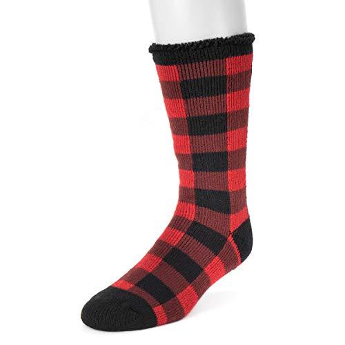 MUK LUKS Men's 1-Pair Heat Retainer Socks - Red/Black