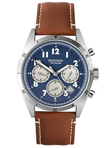 Sekonda Herren Analog Klassisch Quarz Uhr mit Leder Armband 1741