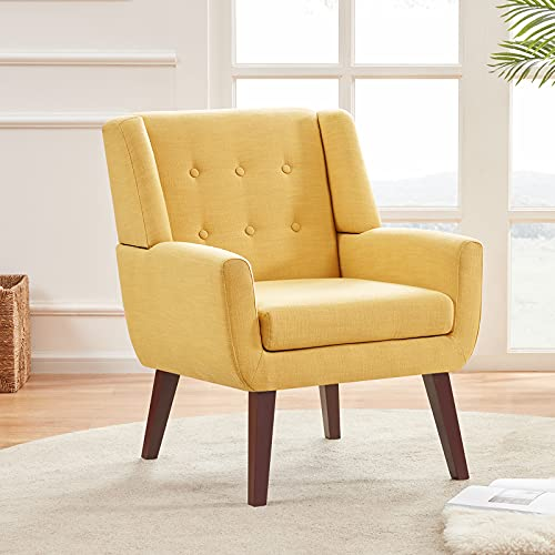 HUIMO Accent Chair, Button Tufted Upholstered Sofa Chairs, Comfy Linen Fabric Armchair for Bedroom, Reading, Mid-Century Modern Living Room Chair (Yellow)