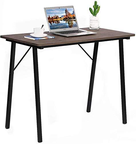 Escritorio de ordenador sencillo moderno de oficina, estilo industrial, tablero de fibra y patas de metal, 100 x 48 x 74 cm, color marrón