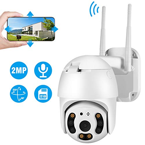 TOROCAT Outdoor Camera Wireless 1080P Home WiFi IP Cameras Pan Tilt Dome Surveillance Cameras with Two-Way Audio Night Vision Motion/Sound Detection Pre-Installed 32G Micro SD Card Cameras Dome