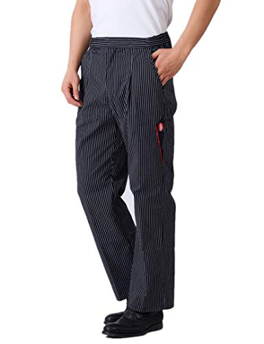 Sawanica Pantalones de Chef Pantalón de Trabajo Negro