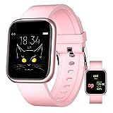 Smartwatch Für Android Ios Armbanduhr Für Frauen Männer Sport Digitaluhr Fitness Tracker Pulsschlag Blutsauerstoff Schlafmonitor, Touchscreen Uhr,Rosa